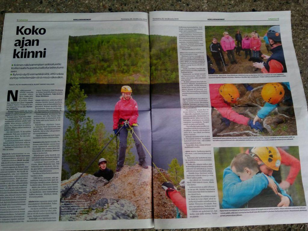 Koko sivun artikkeli Koillis-Sanomissa jossa on neljä isoa kuvaa kalliolaskeutumisestamme.