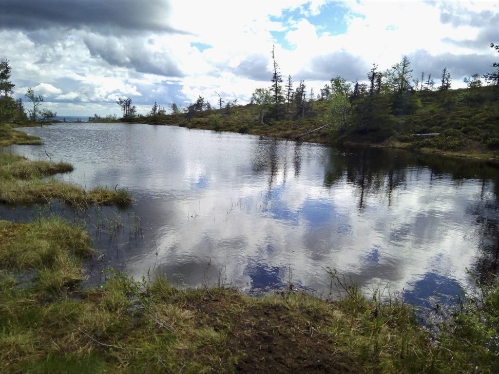 Lähes tyynestä Ikkunalammen pinnasta heijastuvat raskaana roikkuvat pumpulipilvet ja niiden välistä pilkottaa sininen taivas. Rauhaa henkivää erämäälampea reunustavat matalat heinikkoiset penkereet ja matalakasvuiset havupuut. Lammen takaa siintää sinisävyisenä horisontissa kulkevien tuntureiden nauha.