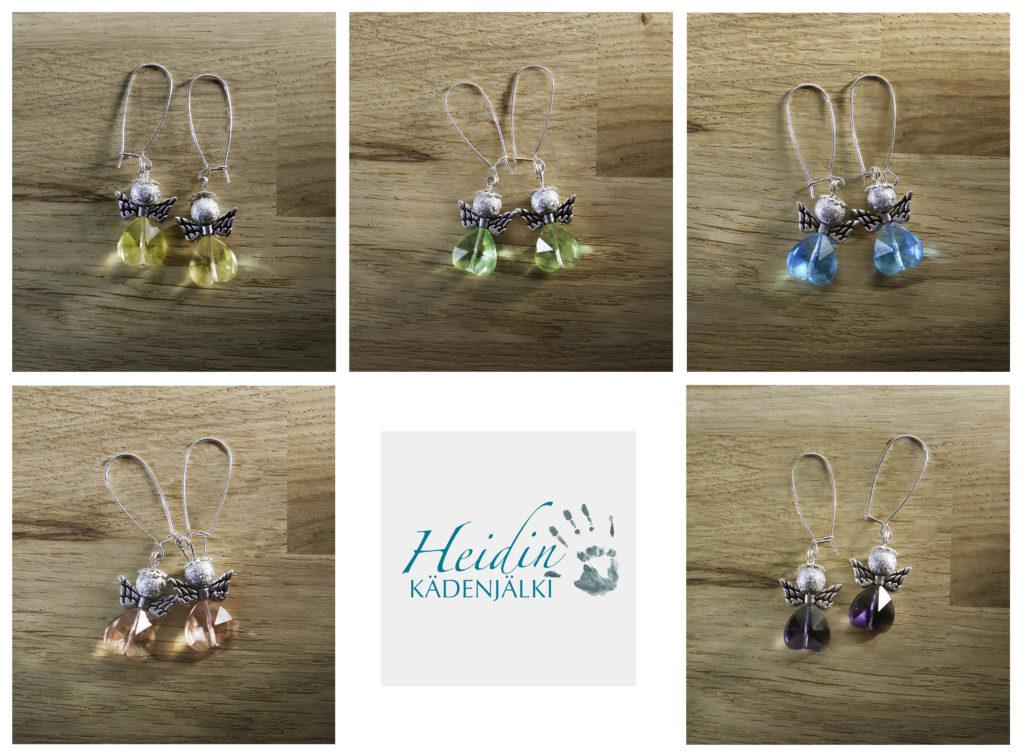 Viisi paria enkelikorviksia. Enkelin vartalo on tehty värillisestä läpikuultavasta sydänhelmestä. Ylärivissä: keltaiset, vihreät ja siniset korvakorut. Alarivissä vaaleanpunaiset ja siniset enkelikorvakorut ja niiden keskellä Heidin Kädenjälki logo.