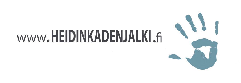 Logo jossa lukee nettiosoite www.heidinkadenjalki.fi. Sen oikealla puolella on tyylitelty petroolinvärinen kädenjälki.